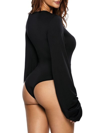 High Leg Hollow Out Puff Sleeve Bodysuit - BLACK S Mobile