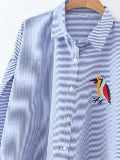 Embroidered High-Low Striped Shirt - BLUE L Mobile