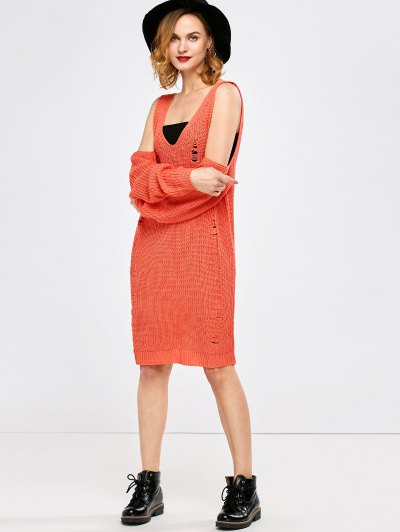 Distressed Cold Shoulder Chunky Sweater Dress - ORANGE RED M Mobile