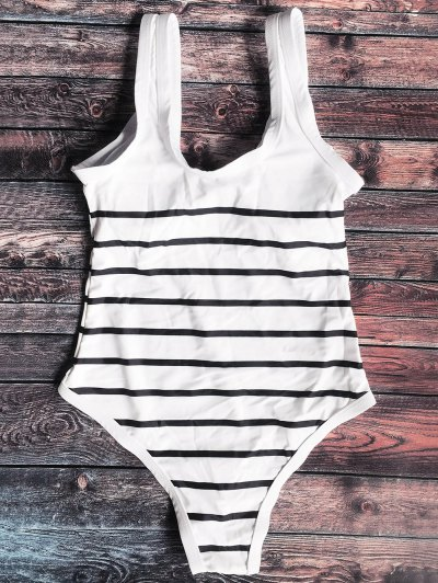 Zip Front Striped Swimsuit - WHITE AND BLACK XL Mobile