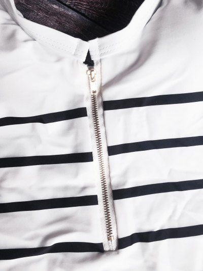 Zip Front Striped Swimsuit - WHITE AND BLACK S Mobile