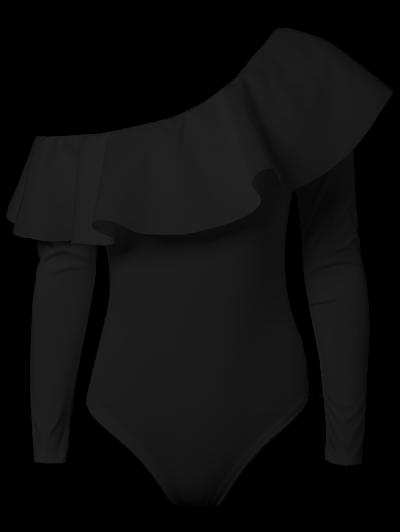 Ruffles Long Sleeve Skinny Bodysuit - BLACK XL Mobile