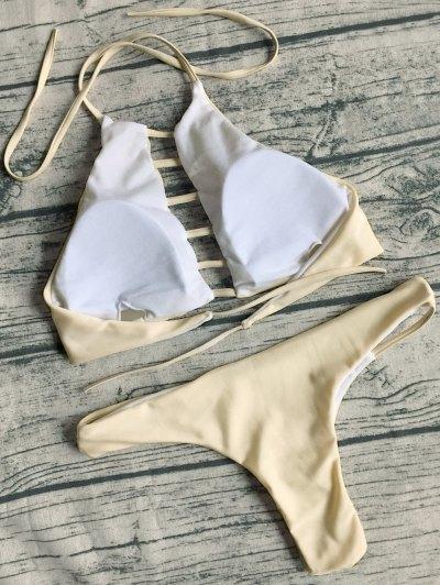 String Cut Out Bikini Set - APRICOT M Mobile