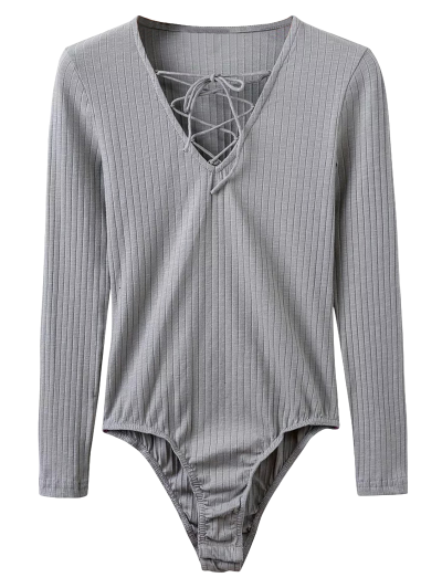 Skinny Ribbed Lace Up Bodysuit - GRAY M Mobile