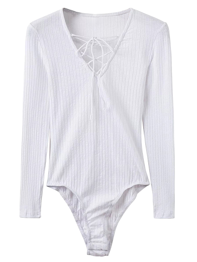 Skinny Ribbed Lace Up Bodysuit - WHITE L Mobile