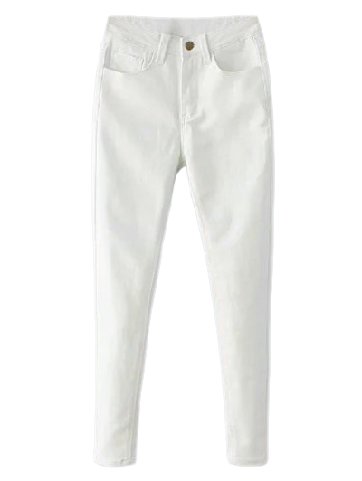 High Waisted Zip Fly Jeans - WHITE M Mobile
