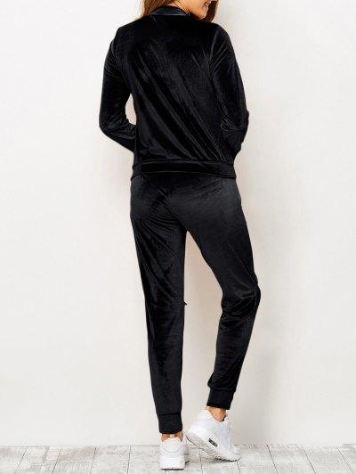 Zippers Velvet T-Shirt and Sports Pencil Pants - BLACK XL Mobile
