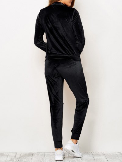 Zippers Velvet T-Shirt and Sports Pencil Pants - BLACK S Mobile