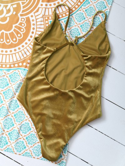 Reversible Cross Back Pleuche Swimwear - GOLD BROWN XL Mobile