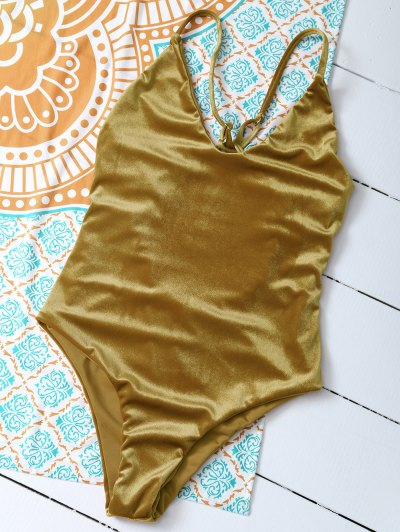 Reversible Cross Back Pleuche Swimwear - GOLD BROWN L Mobile
