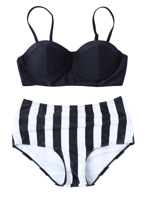 Striped High Waisted Underwired Bikini - Black