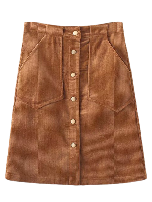 High Waist Single Breasted A-Line Skirt - Brown