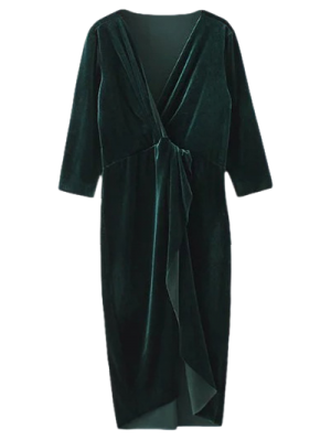 Asymmetric Velvet Midi Wrap Dress - Blackish Green