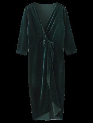 Asymmetric Velvet Midi Wrap Dress - Blackish Green