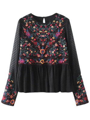 Embroidered Floral Flounce Blouse - Black