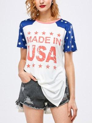Side Slit Graphic Star Tunic T-Shirt - White