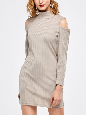 Mock Neck Cold Shoulder Fitted Knitted Dress - Light Gray