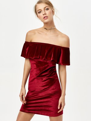 Off The Shoulder Velvet Bodycon Dress - Burgundy