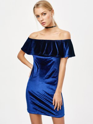 Off The Shoulder Velvet Bodycon Dress - Royal