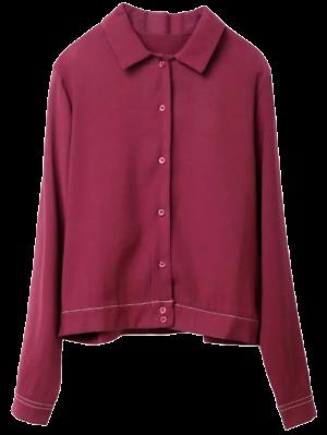 Topstitching Tiger Print Shirt - Wine Red