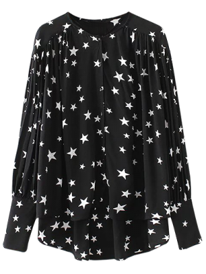 Buttoned Stars Print Blouse - Black
