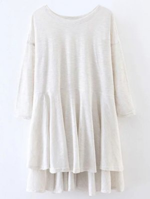 Slit High Low Long Smock T-Shirt - Off-white
