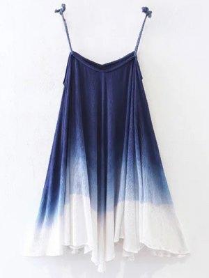 Ombre Trapeze Slip Dress - Purplish Blue