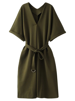 Tie Waist Kimono Sleeve Work Dress - Army Green