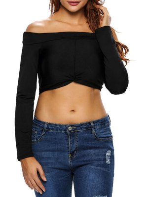 Front Twist Off The Shoulder Cropped T-Shirt - Black