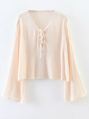 Lace-Up Cut Out Blouse - Pink