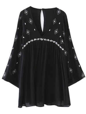 Flare Sleeve Embroidered Dress - Black