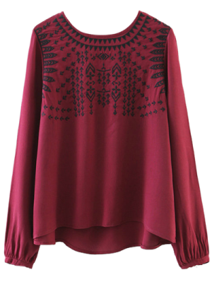 Ethnic Embroidered Blouse - Red