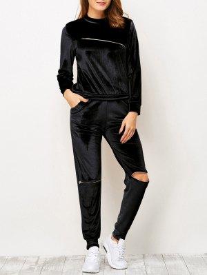 Zippers Velvet T-Shirt And Sports Pencil Pants - Black