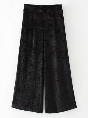 Loose Velvet Wide Leg Pants - Black