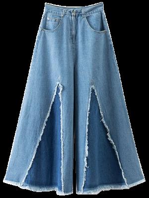 High Rise Frayed Culotte Jeans - Denim Blue