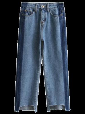 Frayed Mom Fit Jeans - Denim Blue