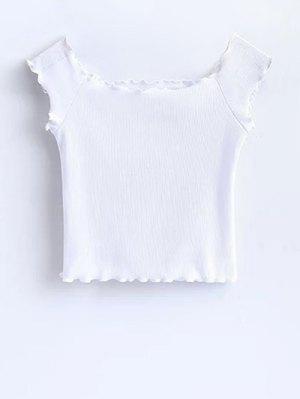 T-shirt court à épaules tombantes avec décoration de falbalas