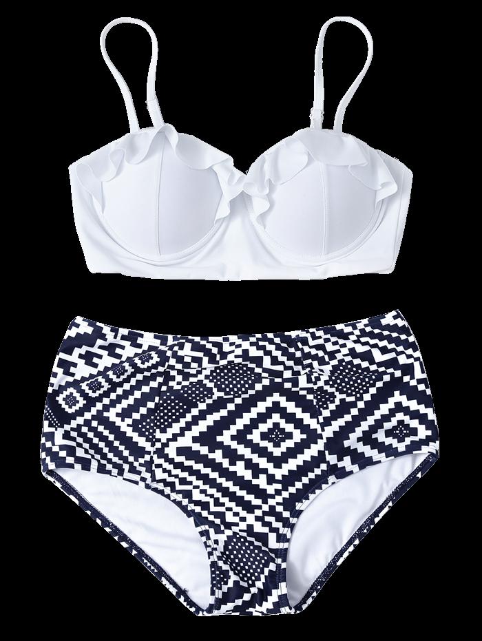 High Waisted Geometric Push Up Bikini