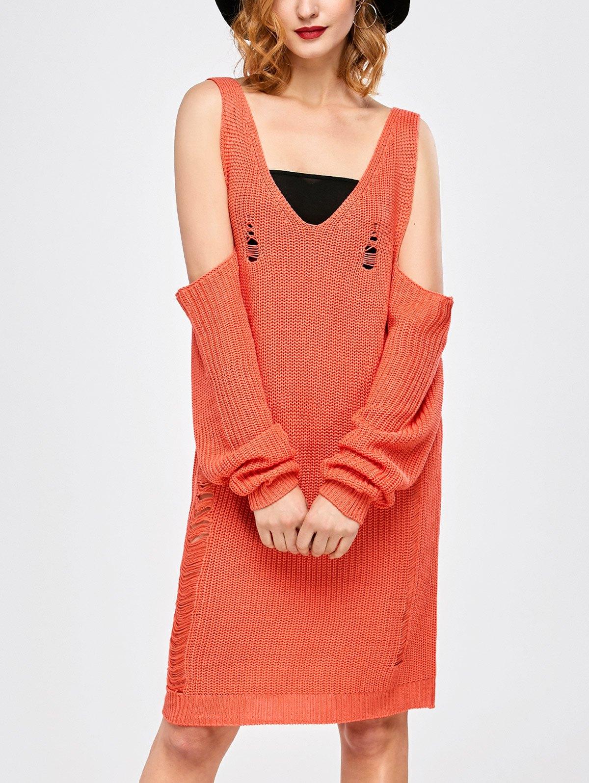 Cold Shoulder Distressed Sweater Dress