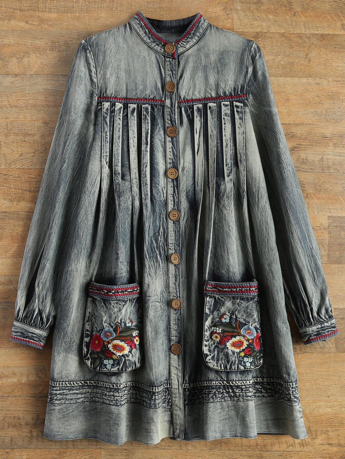 Round Neck Long Sleeve Denim A Line Dress