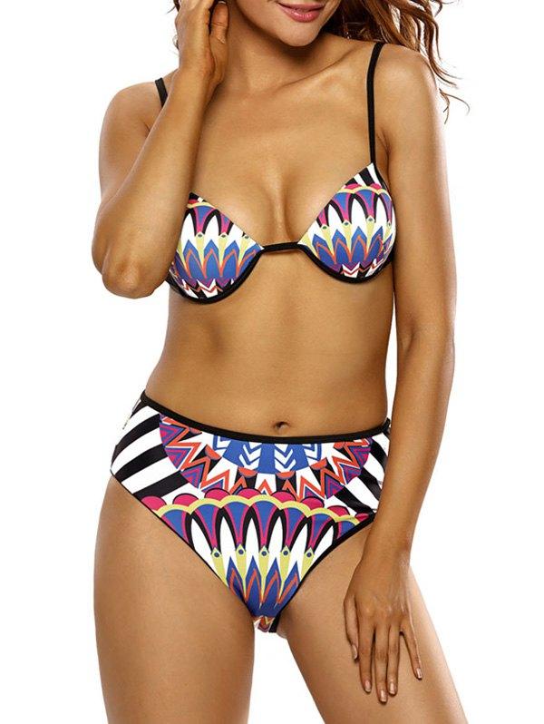 Spaghetti Strap Totem Print Bikini Set