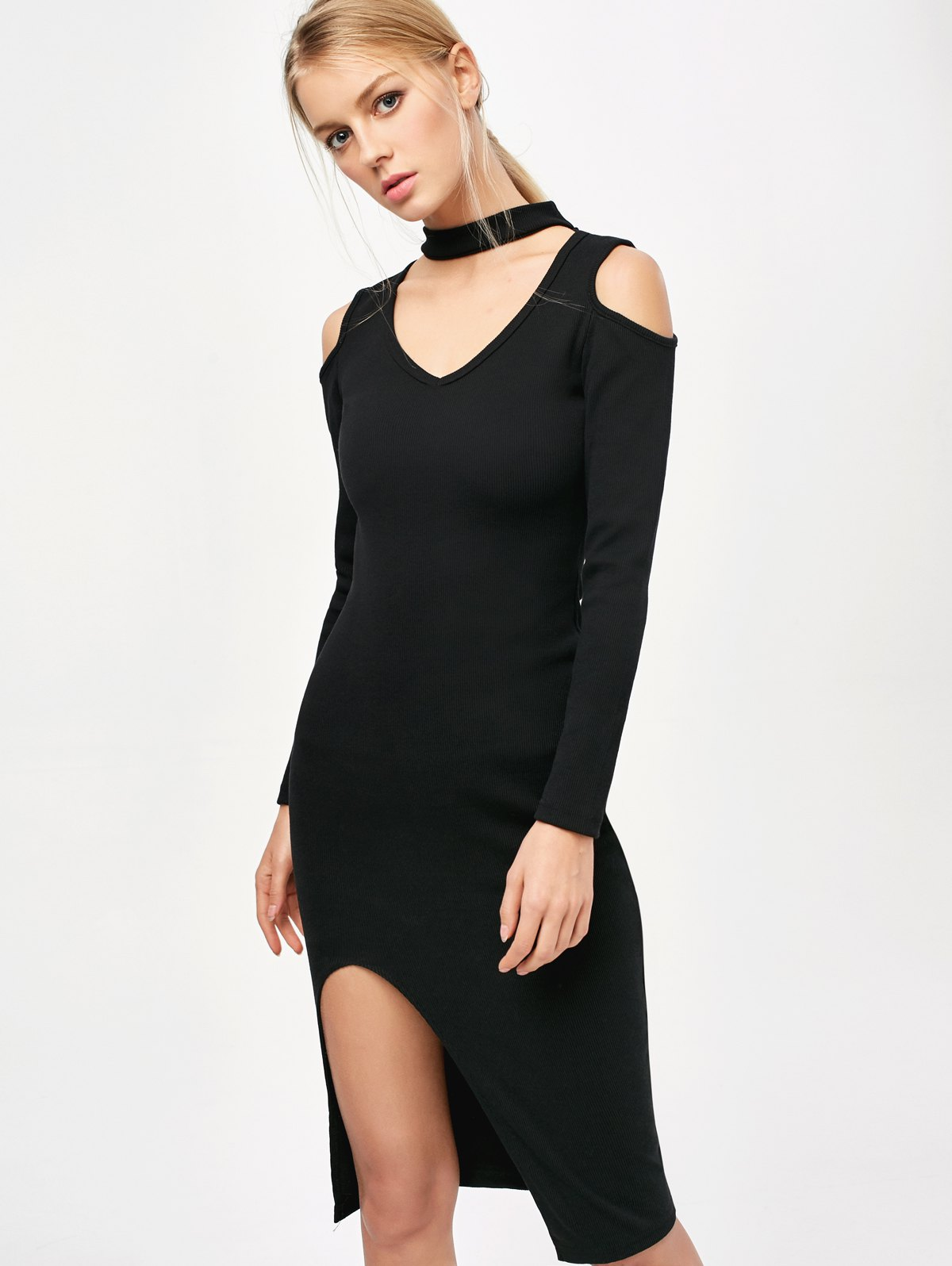 Cold Shoulder Choker Bodycon Dress - Black
