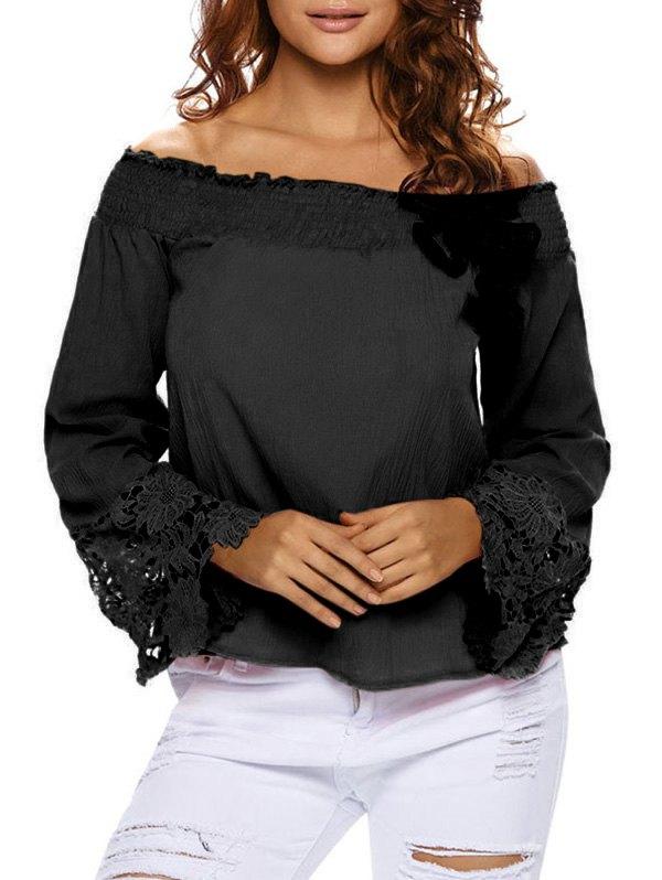 Lace Cuff Off The Shoulder BlouseClothes<br><br><br>Size: L<br>Color: BLACK
