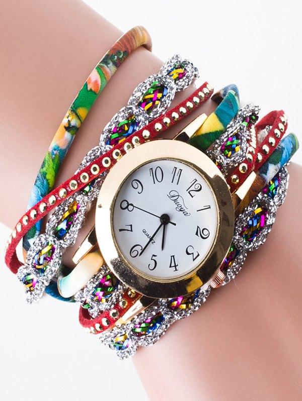Faux Leather Rhinestone Wrap Bracelet Watch