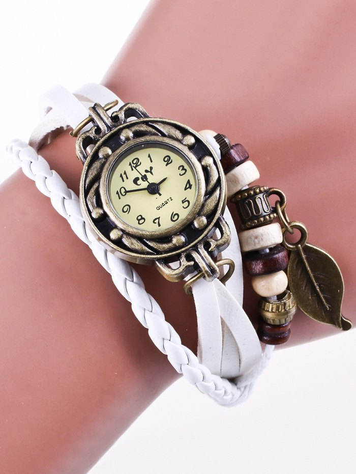 Faux Leather Braided Strand Bracelet Watch
