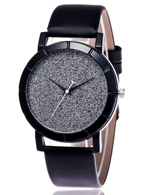 Faux Leather Glitter Analog Wrist Watch