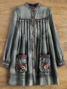 Denim Round Neck Long Sleeve A Line Dress