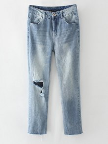 Ripped Narrow Feet Pencil Jeans - Blue Gray