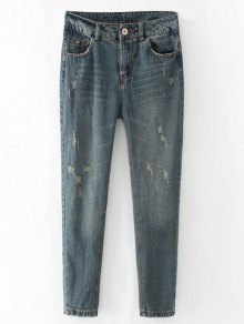 Frayed Broken Hole Pencil Jeans - Blue Gray