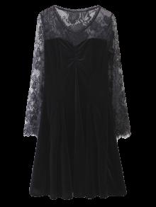 Long Sleeve Lace Panel A-Line Dress